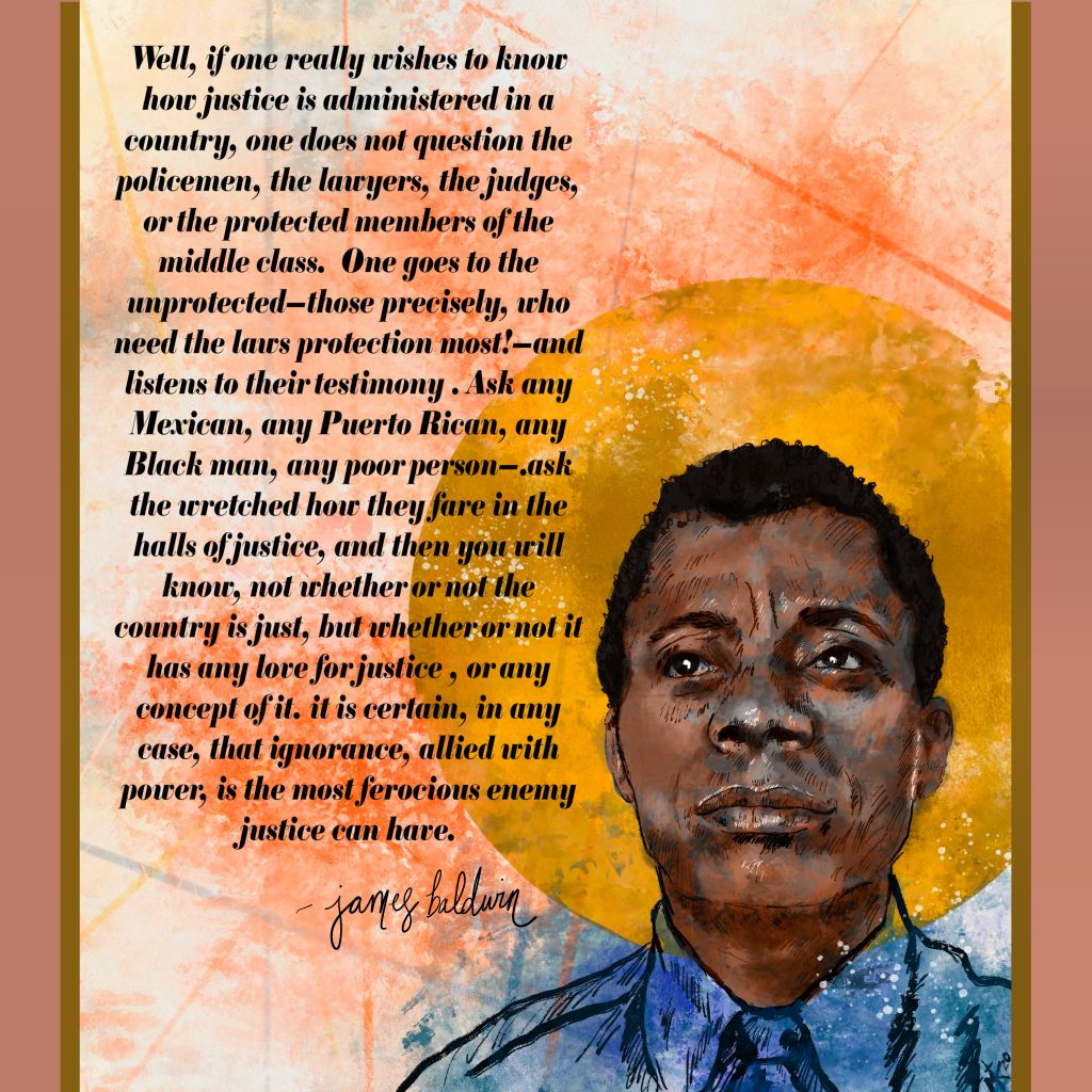 Quote by James Baldwin, Art by Megan Kenyon